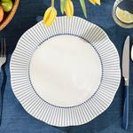 Clover Ring Porselen Servis Tabağı 27 Cm Beyaz - Mavi