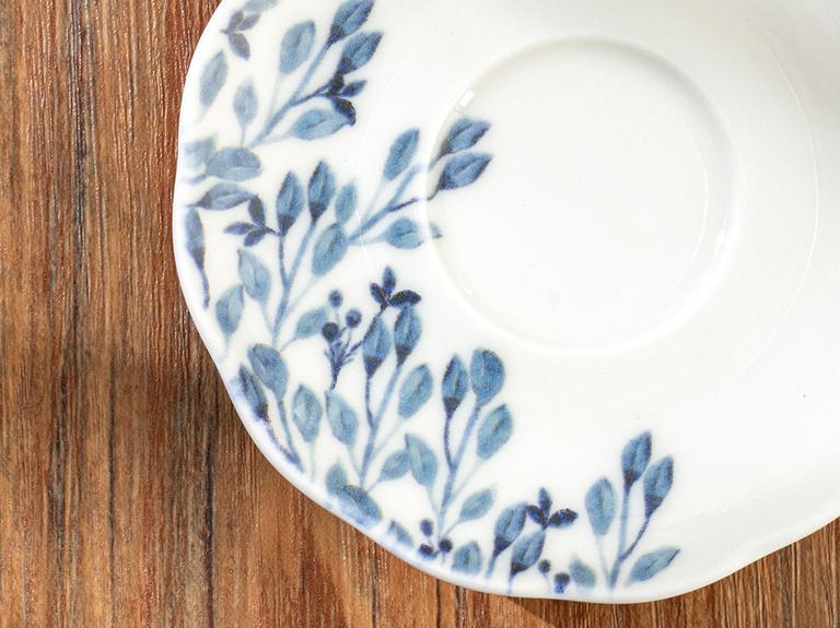 Clover Flower Porselen Çay Tabağı 12 Cm Beyaz - Mavi