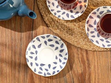 Clover Leaf Porselen Çay Tabağı 12 Cm Beyaz - Mavi