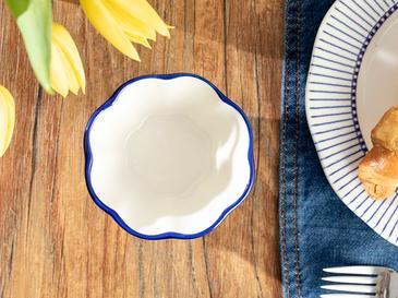 Clover Blue Porselen Çerezlik 10 Cm Beyaz - Mavi