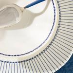 Clover Stripe Porselen Çorba Kasesi 16 Cm Beyaz - Mavi