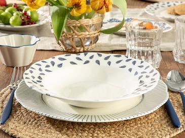 Clover Leaf Porselen Çukur Tabak 23 Cm Beyaz - Mavi