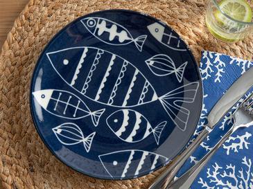 Fishes Porselen Pasta Tabağı 19 Cm Beyaz - Lacivert