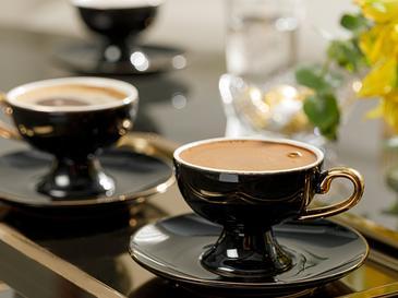 Suza Porselen 6 Kişilik Kahve Fincan Takımı 80 Ml Siyah