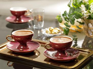 Suza Porselen 6 Kişilik Kahve Fincan Takımı 80 Ml Bordo