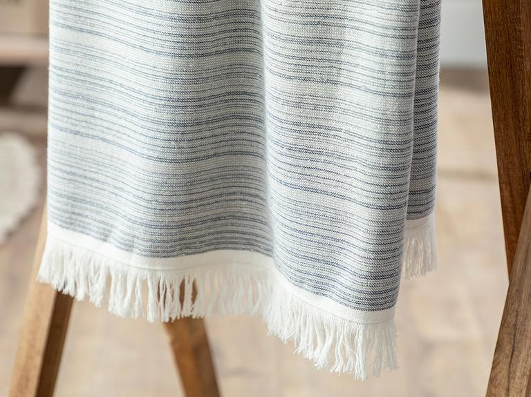 Mina Stripe Pamuklu Yüz Havlusu 50x80 Cm Lacivert