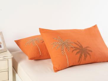 Glitter Palm Pamuklu 2'li Yastık Kılıfı 50x70 Cm Yanık Portakal