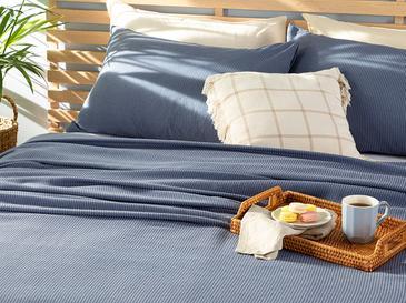 Cool Stripe Soft Touch Çift Kişilik Pike Seti 200x220 Cm Lacivert