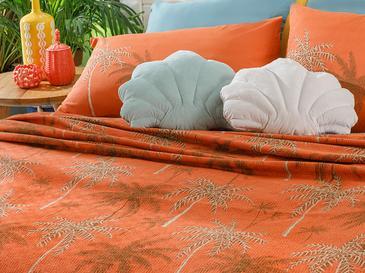 Glitter Palm Baskılı Çift Kişilik Pike 200x220 Cm Yanık Portakal