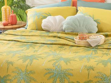 Glitter Palm Baskılı Çift Kişilik Pike 200x220 Cm Kivi Yeşili
