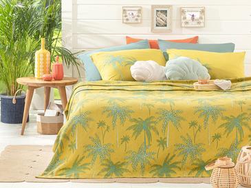 Glitter Palm Baskılı Tek Kişilik Pike 150x220 Cm Kivi Yeşili