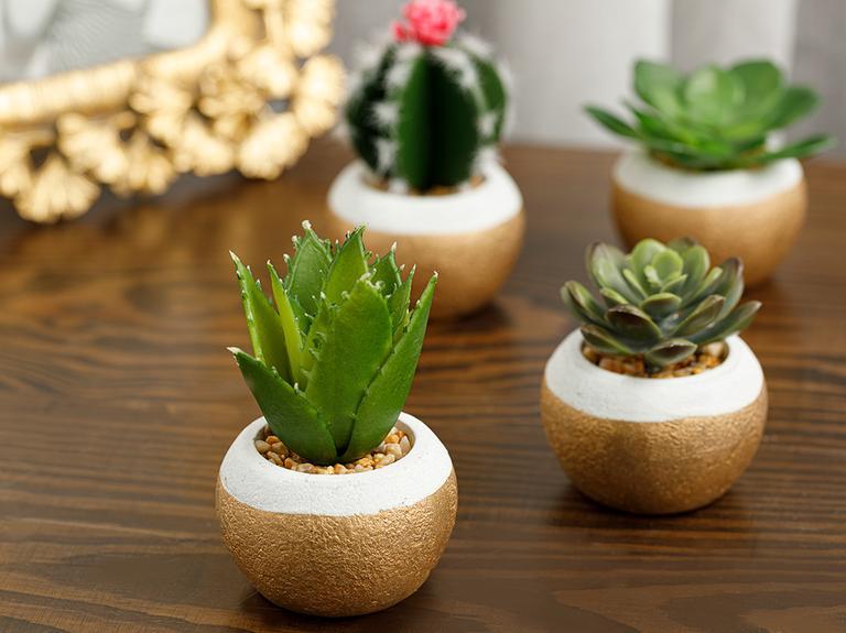 Cactus Vazolu Yapay Çiçek 7x7x11 Cm Yeşil