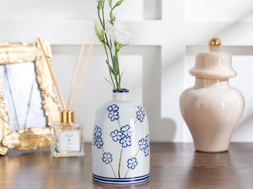 Sakura Porselen Vazo 9x9x15 Cm Mavi-beyaz