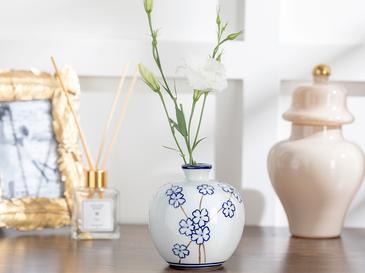 Sakura Porselen Vazo 11,0x11,0x11,5 Cm Mavi-beyaz