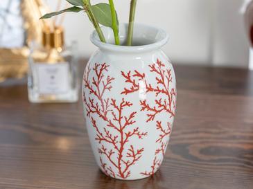 Coral Porselen Vazo 9x9x15 Cm Kırmızı