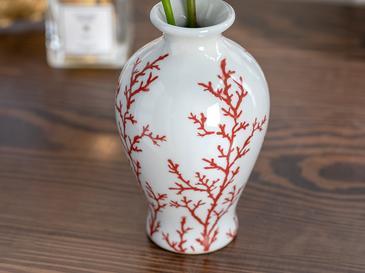 Red Coral Porselen Vazo 9x9x15 Cm Kırmızı