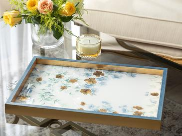 Floret Cam Dekoratif Tepsi 31x46 Cm Mavi