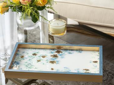 Floret Cam Dekoratıf Tepsı 22x37 Cm Mavi