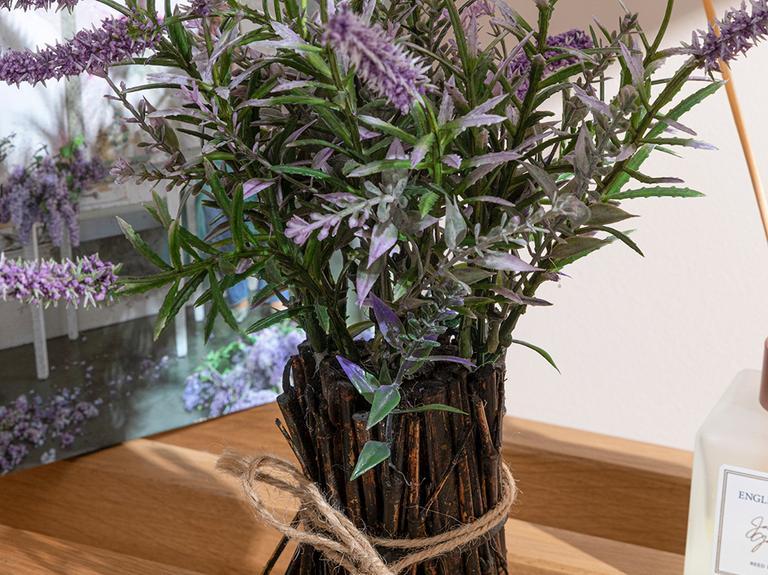 Lavender Leaves Vazolu Yapay Çiçek 28 Cm Mor
