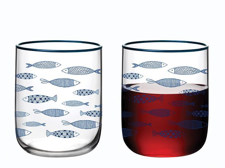 Little Fishes Cam 3'lü Meşrubat Bardağı 270 Ml Lacivert
