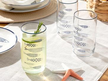 Little Fishes Cam 3'lü Meşrubat Bardağı 365 Ml Lacivert