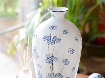 Sakura Bunch Porselen Vazo 21x21x42 Cm Mavi-beyaz