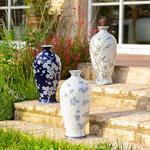 Sakura Garden Porselen Vazo 21x21x42 Cm Mavi-beyaz