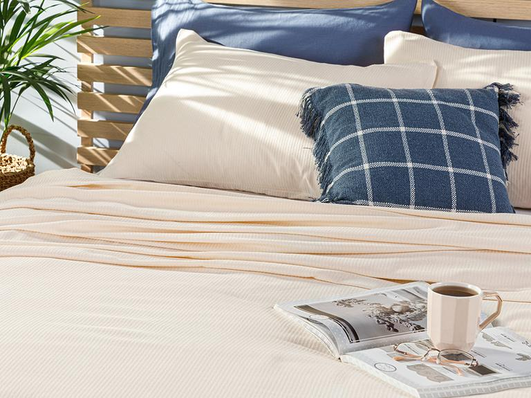 Cool Stripe Soft Touch King Size Pike Seti 220x240 Cm Fildişi