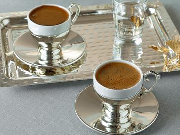 Silvery Gümüş Kaplama 2'li Set Kahve Fincanı 90 Ml Gümüş
