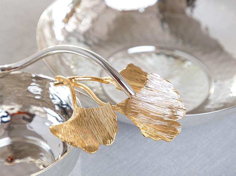 Gingko Silvery Gümüş Kaplama Çerezlik 26,5 Cm Gümüş