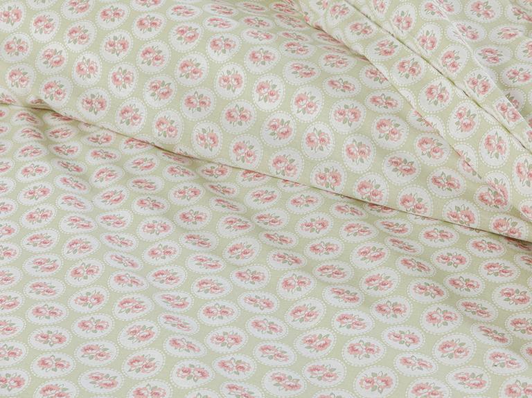 Little Cherry Pamuklu King Size Nevresim Seti 240x220 Cm Açık Yeşil