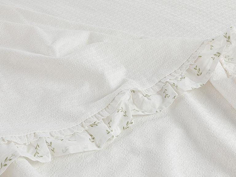 Leafy Fırfırlı Kopanakili Çift Kişilik Pike 200x220 Cm Beyaz