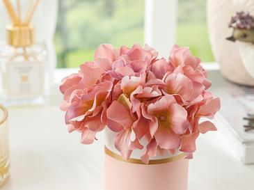 Hortensia Seramik Vazolu Yapay Çiçek 13x13x13 Cm Pembe