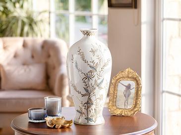 Pearl Porselen Vazo 21x21x42 Cm Bej