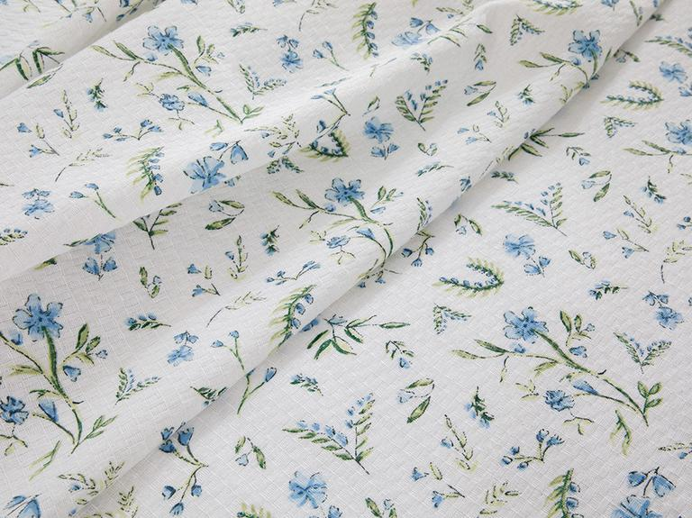 Country Flowers Baskılı King Size Pike Takımı 220x240 Cm Mavi