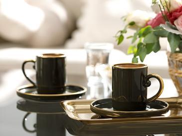 Stripes Porselen 2'li Kahve Fincan Takımı 85 Ml Yeşil