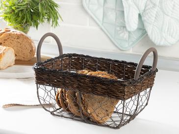 Zena Metal-Bambu Ekmek Sepeti 22 Cm Siyah