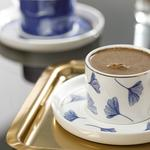 Gingko Biloba New Bone 2 Kişilik Kahve Fincan Takımı 80 Ml Lacivert-beyaz
