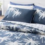 Glitter Palm Pamuklu King Size Nevresim Seti 240x220 Cm Lacivert