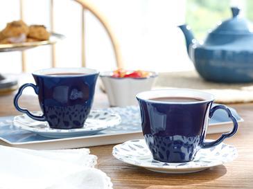 Clover Leaf Porselen 2'li Çay Fincanı Takımı 180 Ml Beyaz - Mavi