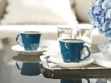Clover Flower Porselen 2'li Kahve Fincan Takımı 80 Ml Beyaz - Mavi
