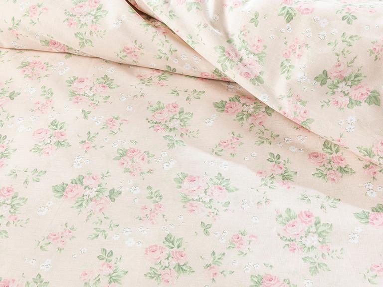 Sweet Rose Pamuklu King Size Nevresim Seti 240x220 Cm Pudra