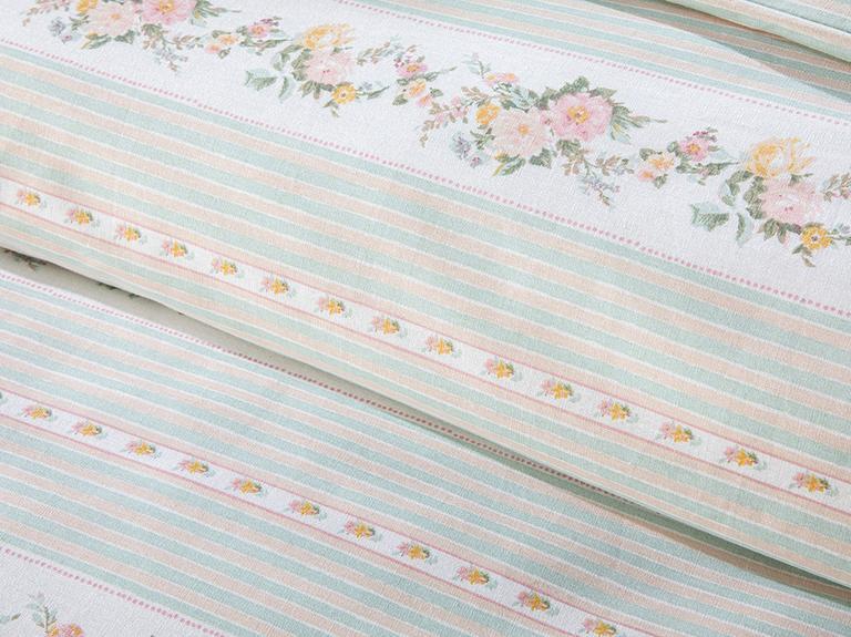 Floral Stripe Pamuklu Super King Nevresim Seti 260x220 Cm Açık Seledon
