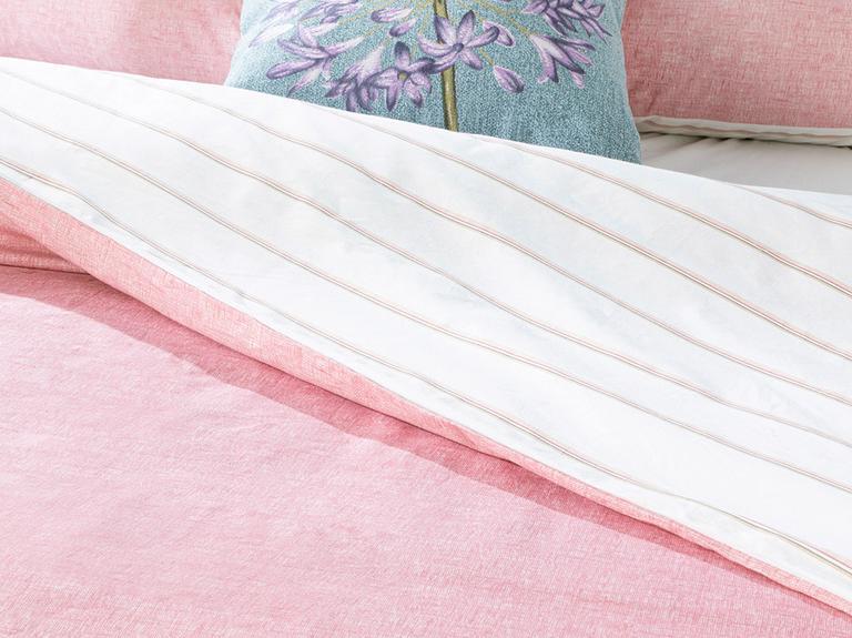 Textured Stripe Pamuklu Çift Kişilik Nevresim Seti 200x220 Cm Pembe
