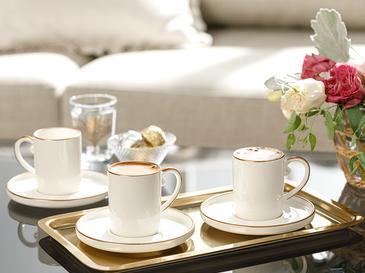 Marella Porselen 6'lı Kahve Fıncan Takımı 85 Ml Rose Gold