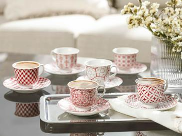 Arista Porselen 6 Kişilik Kahve Fincan Takımı 90 Ml Bordo