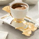 Gingko Silvery Gümüş Kaplama Tepsili Kahve Fincanı 90 Ml Gümüş