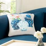 Bleu Blanc Magnolia Mikrofiber Kırlent Kılıfı 45x45 Cm Mavi-beyaz
