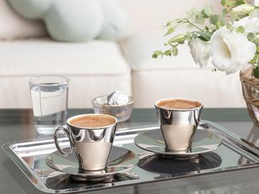Asto Porselen 2 Kişilik Kahve Fincan Takımı 80 Ml Silver