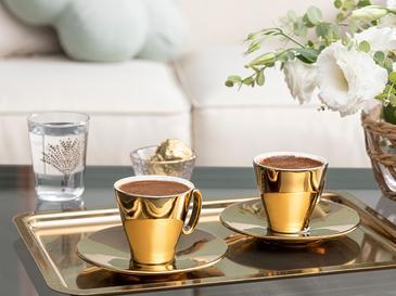 Asto Porselen 2 Kişilik Kahve Fincan Takımı 80 Ml Gold